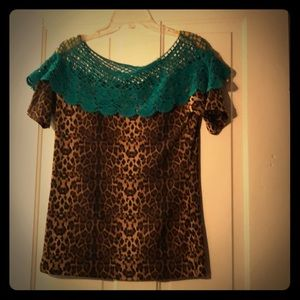 Cute Leopard Shirt with turquoise lace detail.
